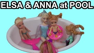 getlinkyoutube.com-Elsa and Anna toddlers & Olaf go to the POOL with Barbie and the Secret Door characters