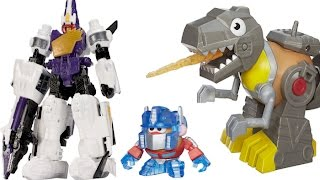 getlinkyoutube.com-Robots, Dinosaurs, Transformers Rescue Bots Mixable Mashable Heroes Optimus Prime and Grimlock Toys