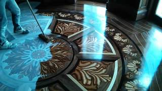 getlinkyoutube.com-Tahari Library custom 3D wood flooring inlay design