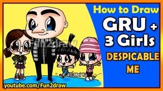getlinkyoutube.com-How to Draw Despicable Me - Gru, Agnes, Margo + Edith - Drawing Art for Kids Tutorials - Fun2draw