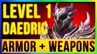 getlinkyoutube.com-Skyrim Remastered Best DAEDRIC Weapons & Armor ALL Enchanted At LEVEL ONE! (Special Edition Build)