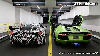 getlinkyoutube.com-Ferrari vs Lamborghini shooting flames competition