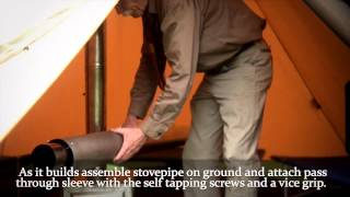 getlinkyoutube.com-Setting Up the Titanium Stove Wood Stove in a Tipi Style Tent - Four Dog Stove Co