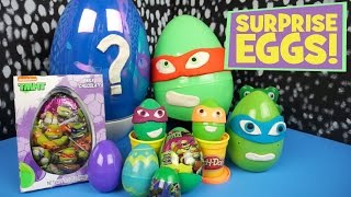Ninja Turtles Play-doh Surprise Eggs with Ninja Turtles Half Shell Heroes Toys - by KidCity