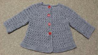 getlinkyoutube.com-Sueter de 9 a 12 meses  Crochet parte 1 de 2