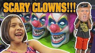 getlinkyoutube.com-SCARY CLOWNS at SPIRIT HALLOWEEN STORE!!! Donald Trump Face Off!