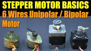 getlinkyoutube.com-Stepper Motor Basics - 6 Wires Unipolar / Bipolar Motor