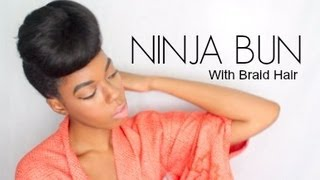 getlinkyoutube.com-Ninja Bun (with Braid Hair)