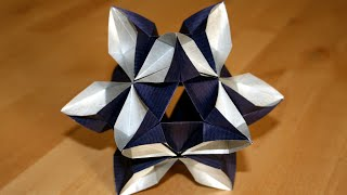 getlinkyoutube.com-Origami - Kusudama Etoile - Star Kusudama [Senbazuru]
