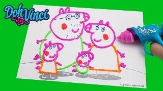 getlinkyoutube.com-Peppa Pig Play-Doh DohVinci Art Studio Design Peppa Pig with Play Doh Vinci Dibujar con Plastilina