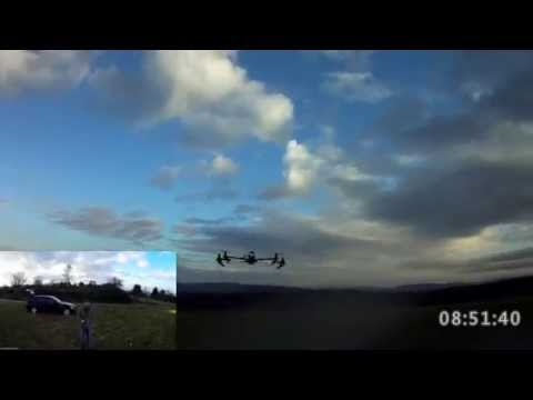 Q-1000 Weinberg Germany - 2 cams flight of BIG GUY Quadcopter by MrMarek  Mobius HD
