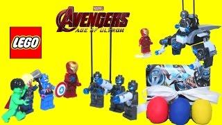 getlinkyoutube.com-LEGO Iron Man vs. Ultron Avengers Age of Ultron + Play Doh Surprise Eggs Captain America Thor Hulk