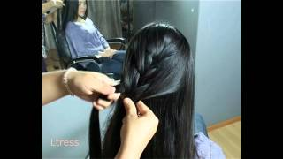 getlinkyoutube.com-Ltress' beautiful chinese model  - Huang Rong - side fishtail braid hairstyle