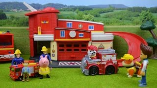 getlinkyoutube.com-Fireman Sam Fire station Fun With Peppa Pig Paw Patrol Ryder Marshal Rubble