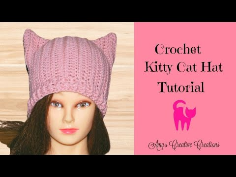 Crochet Kitty Cat Hat Tutorial