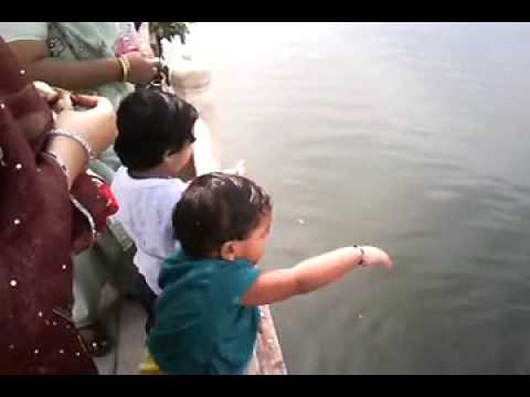 Kids Feeding Fishes @ Ana Sagar Lake - Ajmer, India