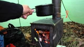 getlinkyoutube.com-Hot Tent Wood Stove Bushcraft Overnight + Sleeping bag Rating Chat