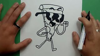 Como dibujar a Pizza Steve paso a paso - Tito Yayo | How to draw Pizza Steve - Uncle Grandpa