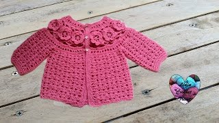 getlinkyoutube.com-Brassière bébé à fleurs crochet 3 / Baby sweaters flowers crochet 3