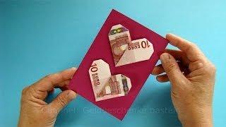 getlinkyoutube.com-Geldgeschenke verpacken: Geldscheine falten Herz