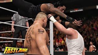 getlinkyoutube.com-WWE Fastlane 2016 - Roman Reigns vs Brock Lesnar vs Dean Ambrose Triple threat Match - WWE 2K16