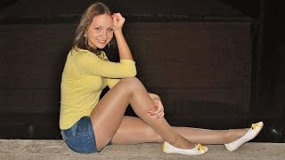 getlinkyoutube.com-Sexy Chicks in Pantyhose Nylons & Ballerinas Flat Shoes #1