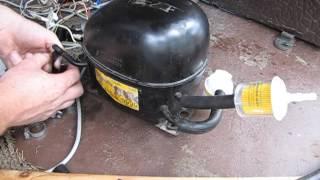 getlinkyoutube.com-Компрессор от холодильника для накачки колес