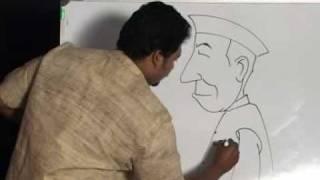 getlinkyoutube.com-Easy steps to draw Gandhiji and Nehru