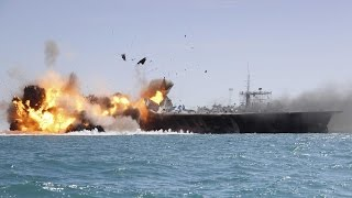 getlinkyoutube.com-Iran Navy successfully test-fires Nour cruise missile - Iran flies drone over US aircraft carrier