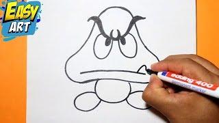 getlinkyoutube.com-how to draw goomba | como dibujar goomba super  mario bros