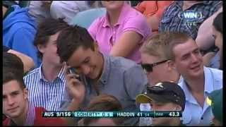 getlinkyoutube.com-Cricket Spectator Takes A Classic One Handed Catch In The Crowd
