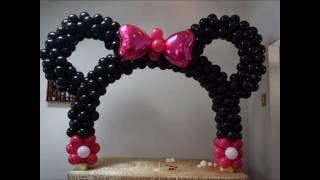 getlinkyoutube.com-Minnie mouse table balloon arch  DIY Beautiful balloon decor piece for Mickey birthday parties