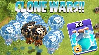 getlinkyoutube.com-Clash Of Clans - NEW CLONE SPELL!! CLONE WARS!! (Testing on lots of troops)