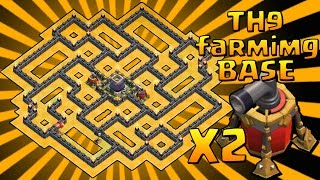 getlinkyoutube.com-Clash of Clans | TH9 FARMING BASE + 2 AIR SWEEPER / VOLANO