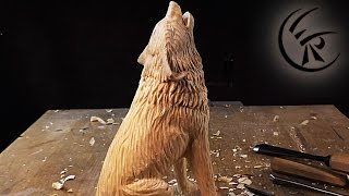 "getlinkyoutube.com-Woodcarving ""Howling Wolf"" ►► Timelapse"