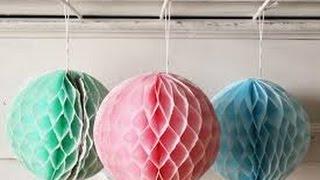 getlinkyoutube.com-Paper Crafts: How to make a Paper Honeycomb Ball DIY December 2016