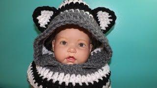 getlinkyoutube.com-Crochet bufanda con Capucha Y Orejas Para Bebe' Hasta Adulto