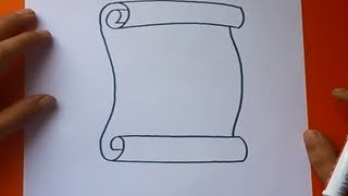 getlinkyoutube.com-Como dibujar un pergamino paso a paso | How to draw a scroll