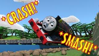getlinkyoutube.com-TOMICA Thomas & Friends Slow Motion Crashes: James CRASHES into a Field!