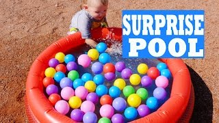 getlinkyoutube.com-Worlds Smallest SURPRISE BALL PIT POOL Surprise Toys Eggs Shopkins Disney Mermaids Summer Fun Party