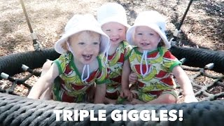 Adorable Laughing Triplets on a Swing!
