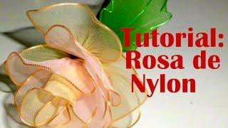 getlinkyoutube.com-Tutorial Rosa de Nylon - How to make a nylon flower: Rose