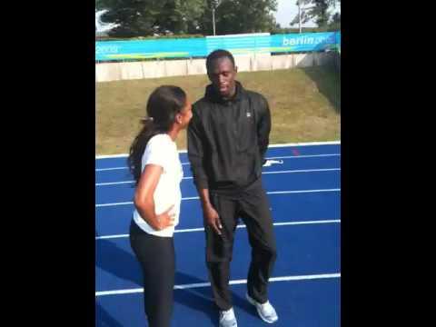 Sanya Richards videoblogs 7 Usain Bolt teaches me some new moves!