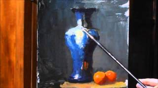 getlinkyoutube.com-Painting Alla Prima- Blue & White Patterned Vase - Oil