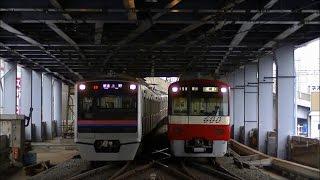 京成本線・押上線青砥駅にて朝の京成上野・押上方面行きの電車