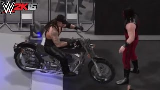 getlinkyoutube.com-WWE 2K16 The Undertaker American Badass Biker ENTRANCE BREAKOUT vs Kane!!!! (PS4)