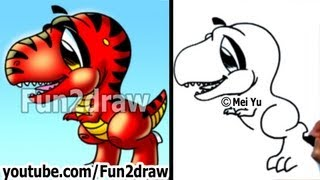 getlinkyoutube.com-Fun Things to Draw - How to Draw a Dinosaur T-Rex - Drawing Lessons - Fun2draw