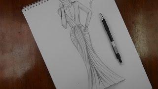 getlinkyoutube.com-تصميم الازياء تعلم رسم فستان مميز للمحجبات