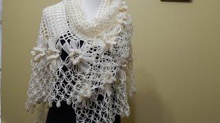 getlinkyoutube.com-Chal con Flores Crochet parte 2 de 2