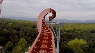 getlinkyoutube.com-Sky Scream Roller Coaster POV Premier Launched Ride Holiday Park Germany